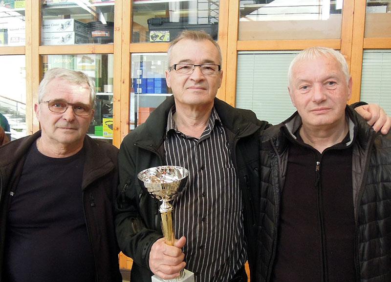 z leve Toni Kovačič, Mirko Ognjenovič in Jani Košir